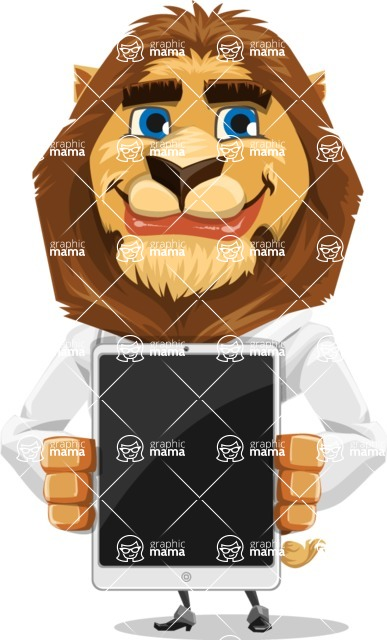 Business Lion Vector Cartoon Character AKA Lionello - iPad 1