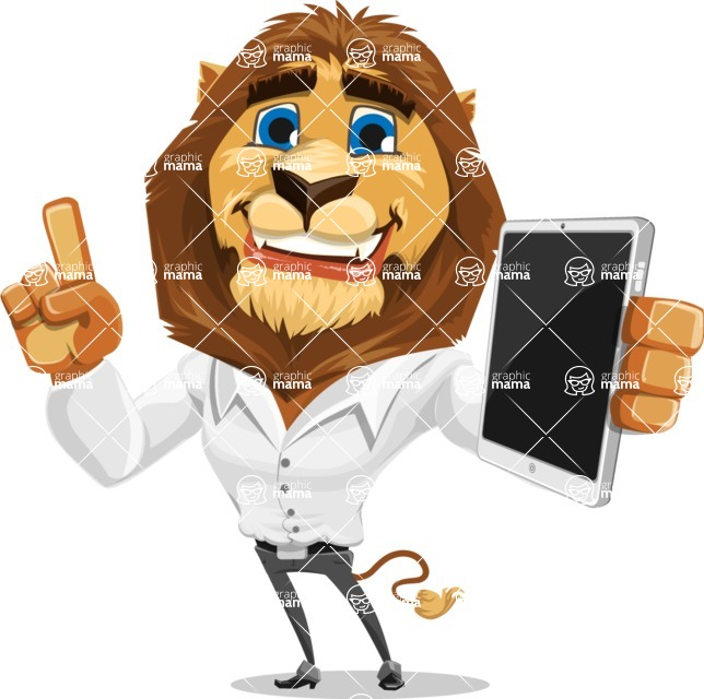 Business Lion Vector Cartoon Character AKA Lionello - iPad 3