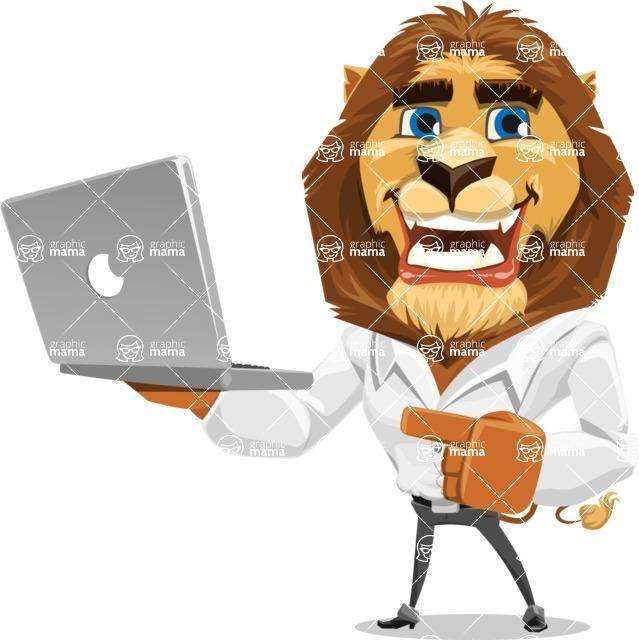 Business Lion Vector Cartoon Character AKA Lionello - Laptop 1