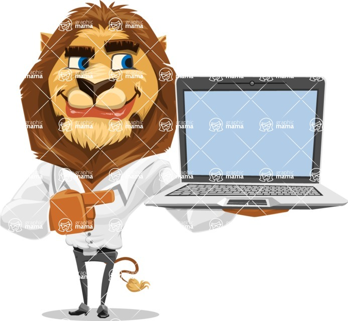 Business Lion Vector Cartoon Character AKA Lionello - Laptop 3