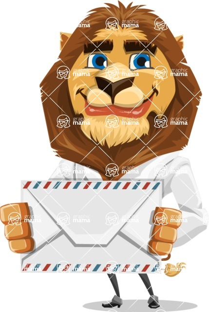 Business Lion Vector Cartoon Character AKA Lionello - Letter