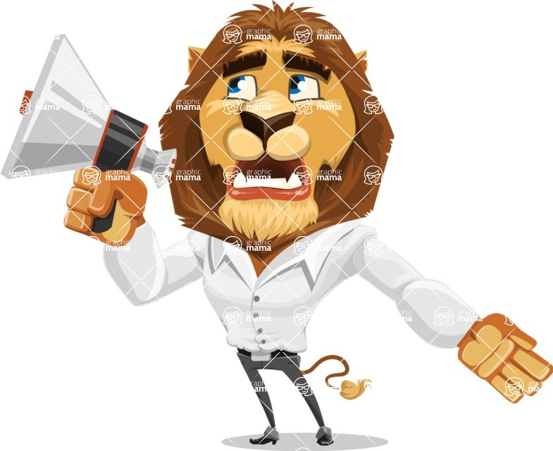 Business Lion Vector Cartoon Character AKA Lionello - Loudspeaker