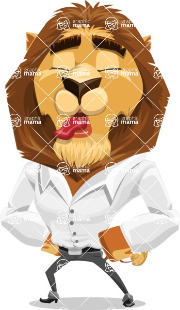 Business Lion Vector Cartoon Character AKA Lionello - Making Face