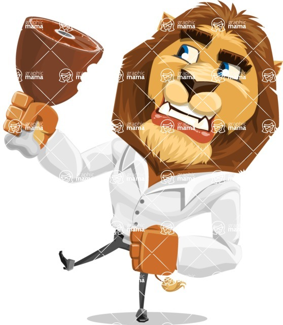 Business Lion Vector Cartoon Character AKA Lionello - Meat