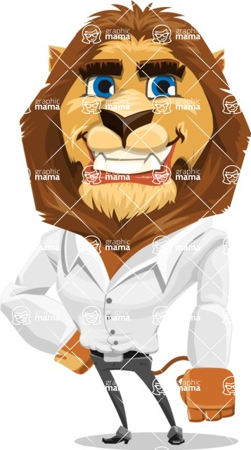 Business Lion Vector Cartoon Character AKA Lionello - Normal
