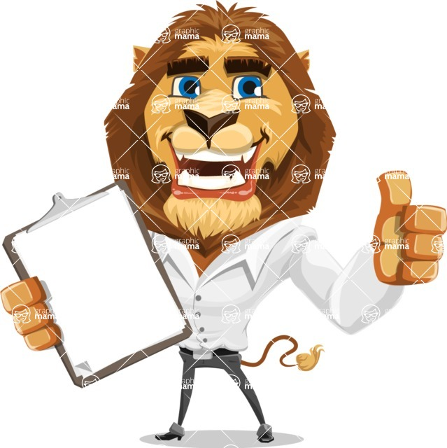 Business Lion Vector Cartoon Character AKA Lionello - Notepad 1
