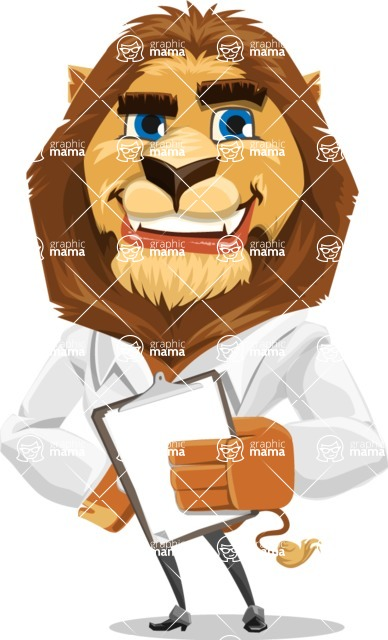 Business Lion Vector Cartoon Character AKA Lionello - Notepad 4