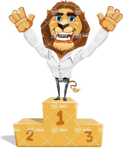 Business Lion Vector Cartoon Character AKA Lionello - On Top