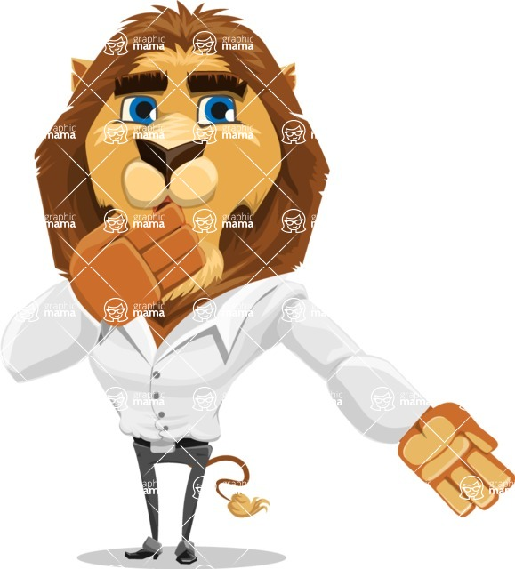 Business Lion Vector Cartoon Character AKA Lionello - Oops