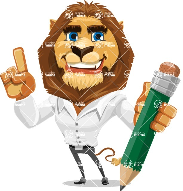 Business Lion Vector Cartoon Character AKA Lionello - Pencil