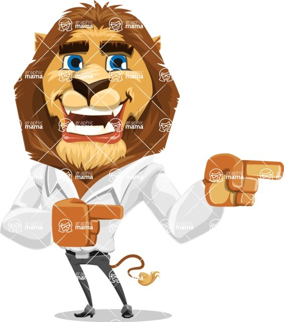 Business Lion Vector Cartoon Character AKA Lionello - Point 2