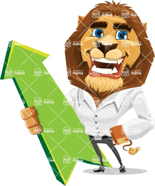 Business Lion Vector Cartoon Character AKA Lionello - Pointer 1