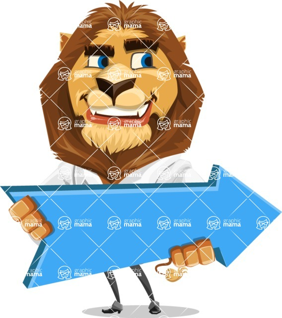 Business Lion Vector Cartoon Character AKA Lionello - Pointer 2