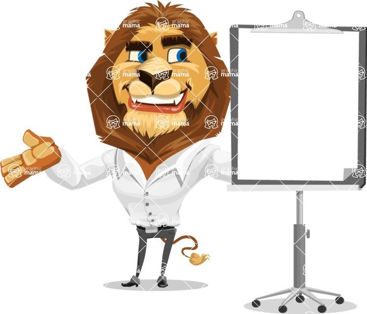 Business Lion Vector Cartoon Character AKA Lionello - Presentation 1