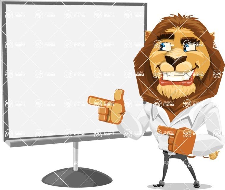Business Lion Vector Cartoon Character AKA Lionello - Presentation 2