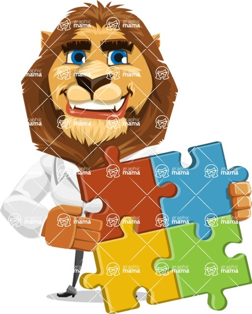 Business Lion Vector Cartoon Character AKA Lionello - Puzzle