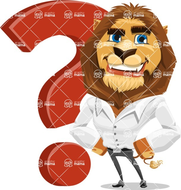 Business Lion Vector Cartoon Character AKA Lionello - Question