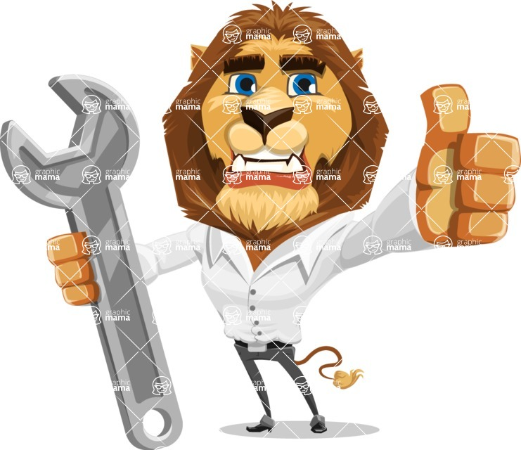 Business Lion Vector Cartoon Character AKA Lionello - Repair