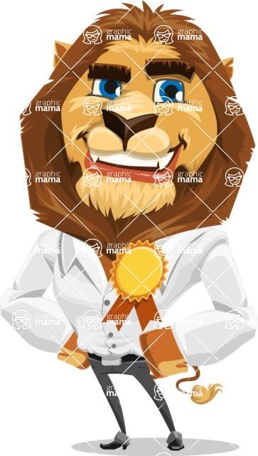 Business Lion Vector Cartoon Character AKA Lionello - Ribbon
