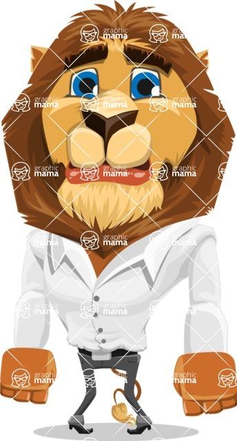 Business Lion Vector Cartoon Character AKA Lionello - Sad
