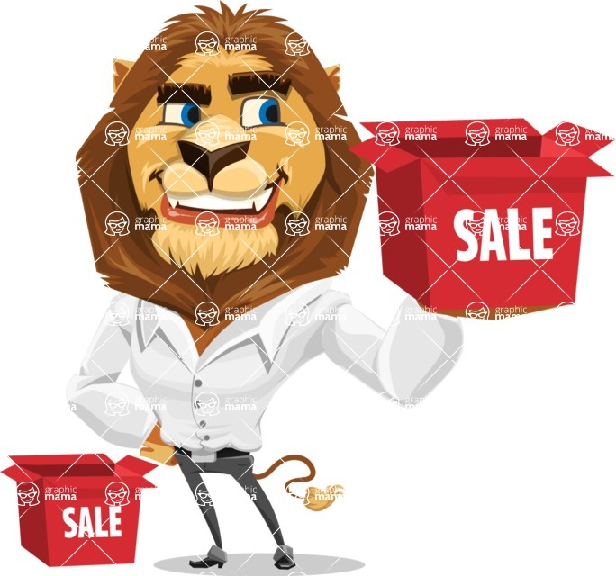 Business Lion Vector Cartoon Character AKA Lionello - Sale