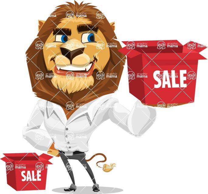 Business Lion Vector Cartoon Character AKA Lionello - Sale