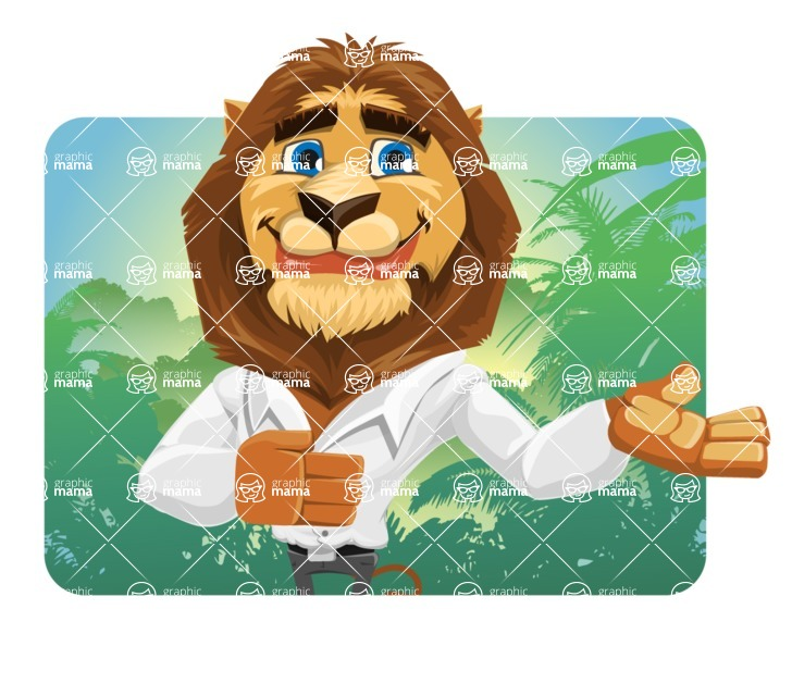 Business Lion Vector Cartoon Character AKA Lionello - Shape 1