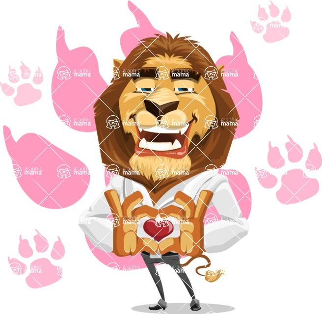 Business Lion Vector Cartoon Character AKA Lionello - Shape 11