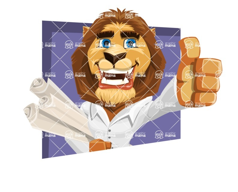 Business Lion Vector Cartoon Character AKA Lionello - Shape 3