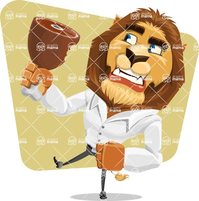 Business Lion Vector Cartoon Character AKA Lionello - Shape 6