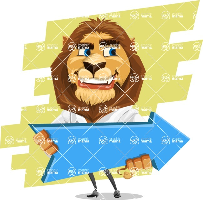 Business Lion Vector Cartoon Character AKA Lionello - Shape 9