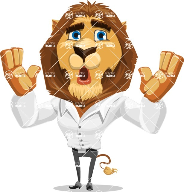 Business Lion Vector Cartoon Character AKA Lionello - Shocked