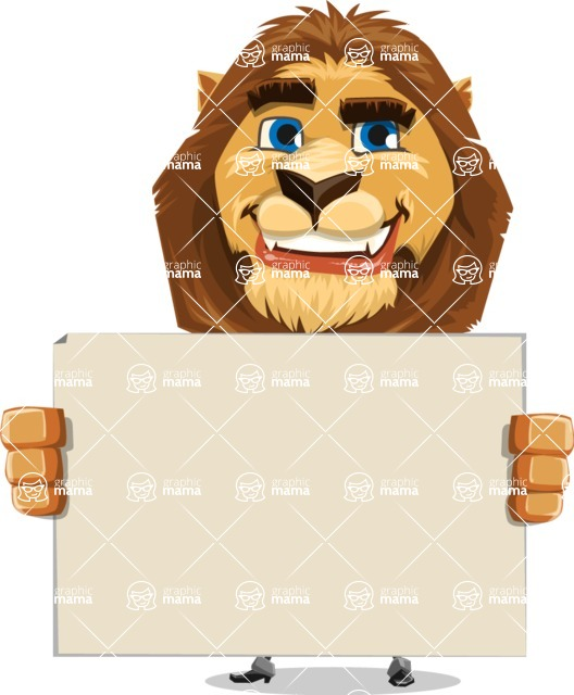 Business Lion Vector Cartoon Character AKA Lionello - Sign 5