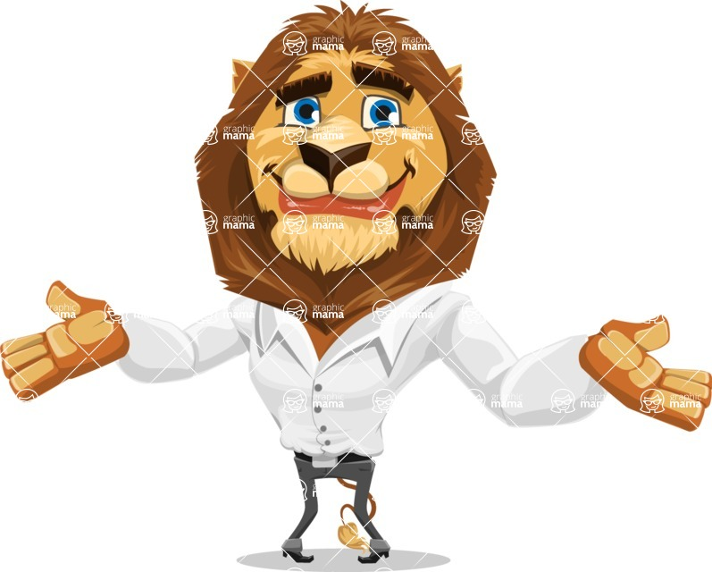 Business Lion Vector Cartoon Character AKA Lionello - Sorry