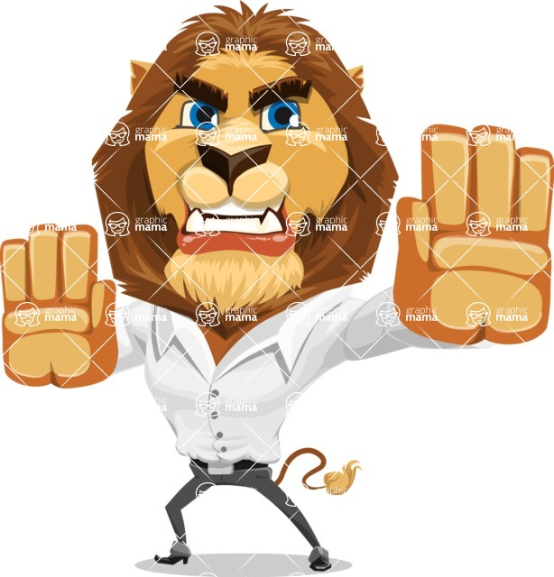 Business Lion Vector Cartoon Character AKA Lionello - Stop