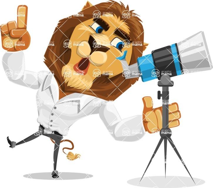 Business Lion Vector Cartoon Character AKA Lionello - Telescope