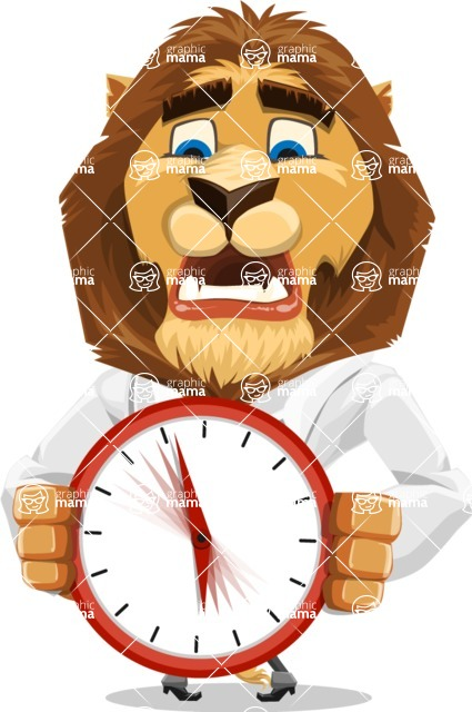 Business Lion Vector Cartoon Character AKA Lionello - Time is Yours