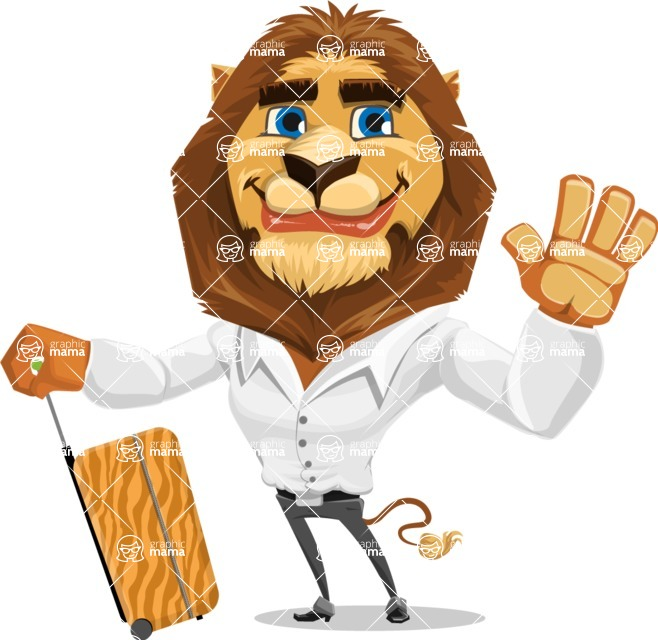 Business Lion Vector Cartoon Character AKA Lionello - Travel 1