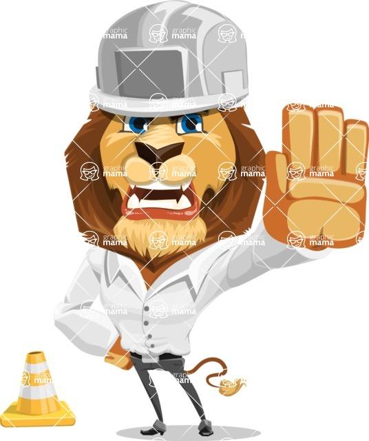 Business Lion Vector Cartoon Character AKA Lionello - Under Construction 1