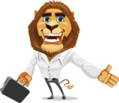 Business Lion Vector Cartoon Character AKA Lionello - Briefcase 1