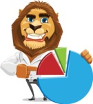 Business Lion Vector Cartoon Character AKA Lionello - Chart