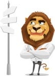 Business Lion Vector Cartoon Character AKA Lionello - Crossroad