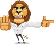 Business Lion Vector Cartoon Character AKA Lionello - Direct Attention 2