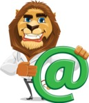 Business Lion Vector Cartoon Character AKA Lionello - Email