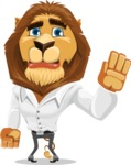 Business Lion Vector Cartoon Character AKA Lionello - Goodbye