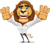 Business Lion Vector Cartoon Character AKA Lionello - Hello