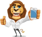 Business Lion Vector Cartoon Character AKA Lionello - iPhone