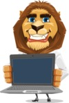 Business Lion Vector Cartoon Character AKA Lionello - Laptop 2