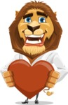 Business Lion Vector Cartoon Character AKA Lionello - Lion with Heart Cartoon Character Graphic