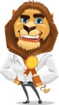 Business Lion Vector Cartoon Character AKA Lionello - Ribbon